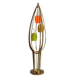 Danish modern floor lamp 1960s cased glass brass and walnut unmarked 61 x 15