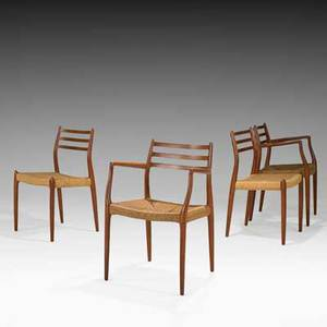 Niels o moller set of four dining chairs two arm two side denmark 1960s woven cord teak branded armchair 32 x 22 x 21 side chair 32 x 19 14 x 19
