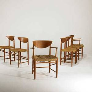 Peter hvidt and orla molgaardnielson soborg mobelfabrik set of six dining chairs twoarm and fourside denmark 1960s teak and woven cord unmarked armchair 31 x 25 x 20
