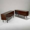Ole wanscher pair of mahogany threedoor cabinets denmark c1960 metal labels each32 12 x 71 x 19