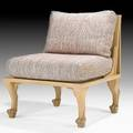 John hutton lounge chair usa ca 1975 carved and stained poplar woven upholstery fabric retailers label 33 x 29 x 28