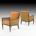 Kipp stewart directional pair of lounge chairs usa 1960s walnut cane velvet unmarked 34 x 24 x 27