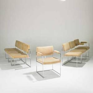 Milo baughman thayer coggin set of seven dining chairs two arm five side usa 1970s chromed steel cotton velvet unmarked armchairs 30 12 x 23 x 23 12 sidechairs 29 x 20 x 22
