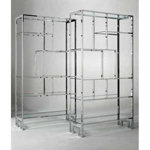 Milo baughman thayer coggin pair of etageres usa 1970s chromed steel glass unmarked 79 x 42 x 16