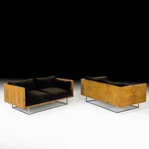 Milo baughman thayer coggin pair of settees usa 1970s olive burl velvet chromed steel unmarked 27 x 58 x 35
