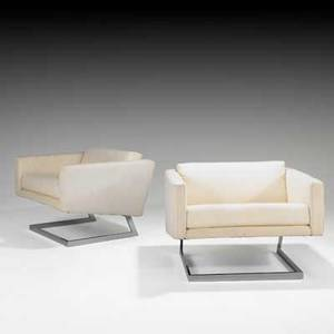 Milo baughman thayer coggin pair of cantilevered club chairs usa 1970s chromed steel linen unmarked 24 x 35 12 x 32