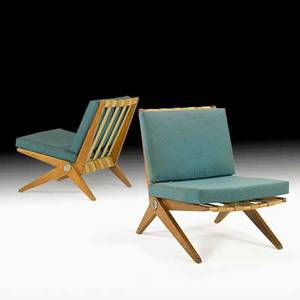 Pierre jeanneret knoll associates pair of scissor chairs usa 1950s birch upholstery rubber manufacturers labels 29 x 23 12 x 30
