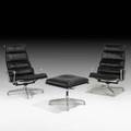Charles and ray eames herman miller pair of soft pad lounge chairs and ottoman usa 1979 leather cast aluminum labeled lounge chair 39 x 25 x 30 ottoman 18 x 22 x 21