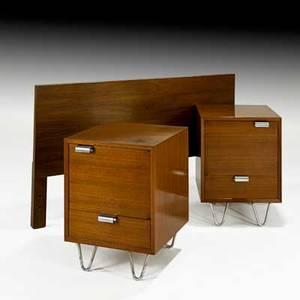 George nelson herman miller headboard and pair of nightstands usa 1950s walnut zincplated metal aluminum unmarked nightstands 24 x 18 x 18 12 headboard 31 x 54