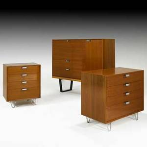George nelson herman miller two dressers secretary cabinet bench and bridge vanity usa 1950s bridge vanity not pictured walnut zincplated metal aluminum foil labels larger dresser 29 1