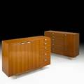 George nelson herman miller two cabinets usa 1950s walnut zincplated metal aluminum foil labels 39 12 x 56 12 x 18 12