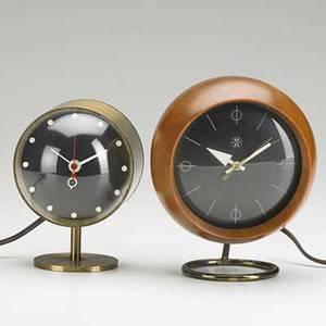 George nelson howard miller clock company two desk clocks nos 4766 and 4765 zeeland mi 1950s walnut brass enameled metal plastic manufacturers labels 7 12 x 5 12 x 4 12