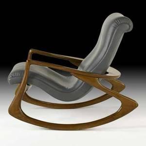 Vladimir kagan vladimir kagan designs inc rocking chair no 175f usa 1970s sculpted walnut leather unmarked 36 x 44 x 32