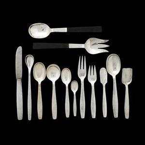 Allan adler hammered pattern 104piece sterling flatware set for twelve incomplete sweden ca 1950 teaspoons 10 soup spoons 12 tablespoons 12 iced tea spoons 12 demitasse spoons 11