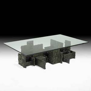 Paul evans directional sculptured metal coffee table usa 1975 bronze composite glass signed pe75 16 12 x 60 x 36