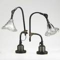 Jason wein cleveland art pair of adjustable desk lamps fostoria oh 2000s molten glass enameled metal pipe steel brass single socket shades signed jw lamps stamped made in usa fostoria ohio
