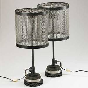 Jason wein cleveland art pair of table lamps fostoria oh 2000s steel mesh enameled metal pipe steel brass two sockets stamped dr gart 21 12 x 9
