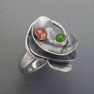 Sam kramer 19131964 mens sculptural ring new york city ca 1950 silver  fused copper nephrite cabochon makers mark size 9 323g