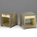 R  y augousti pair of nightstands france 1980s snakeskin parchment painted signatures 20 x 18 x 18 12