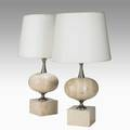 Philippe barbier pair of table lamps france 1960s travertine nickeled brass linen overall 28 x 16 dia base 6 sq