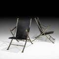Maison jansen pair of campaign lounge chairs france 1970s mattechromed steel brass stitched saddle leather feet stamped italy 37 x 24 14 x 35
