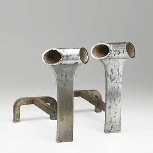 Jacques quinet pair of andirons france 1960s mattechromed steel steel unmarked 11 x 5 12 x 12