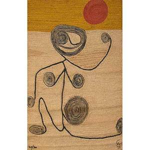 After alexander calder 18981976 bon art jute fiber tapestry of a lady with swirls nicaragua 1974 embroidered ca 74 cloth label edition 20100 certificate of authenticity 84 x 56