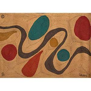 Alexander calder bon art maguey fiber tapestry turquoise guatemala 1975 embroidered calder 75 edition 85100 certificate of authenticity 56 x 84