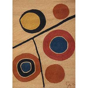 After alexander calder 18981976 bon art jute fiber tapestry floating circles nicaragua 1974 embroidered ca 74 cloth label edition 93100 certificate of authenticity 68 x 50