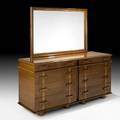 Paul frankl johnson furniture co eightdrawer station wagon dresser with mirror no 1041b195 usa 1940s mahogany mirrored glass brass branded and stenciled numbers dresser 32 x 66 x 22 1
