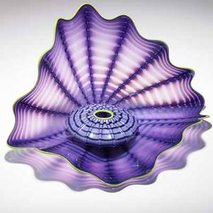 Dale chihuly portland press twopiece imperial iris persian glass set in deep purple with chartreuse wrap seattle 1999  smallest signed and marked pp99 5 x 14 x 12 and 2 x 4 12 provenance
