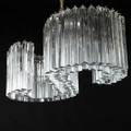 Camer large chandelier italy 1970s crystal mattechromed steel six sockets unmarked 10 12 x 30 x 15 12 to ceiling cap 30 12