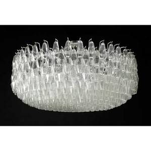 Venini massive polyhedral chandelier italy 1960s cast glass enameled metal brushed metal twentysix sockets unmarked body 21 x 48 dia to canopy 28