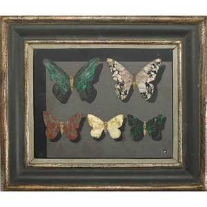 Richard blow montici pietra dura plaque with butterflies in original frame italy 1960s m cipher made in italy tile 4 34 x 6 14 overall 8 x 9 14