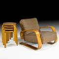 Alvar aalto artek tank chair no 37400 and four stools finlandsweden 1950s laminated birch upholstery chair unmarked stools stamped finsven aalto design artek made in sweden chair 37 x