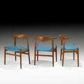 Hans wegner johannes hansen three cow horn chairs denmark 1950s teak rosewood vinyl unmarked 29 x 23 x 17 12