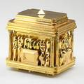 Miguel berrocal 19332006 large puzzle box cofanetto homage to romeo  juliet with ring and filled with silverware spain  italy 196974 goldplated brass stainless steel no visible mark