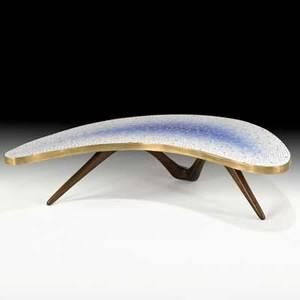 Vladimir kagan kagandreyfuss crescent coffee table usa 1950s venetian glass tiles bronze sculpted walnut unmarked 14 x 56 x 34
