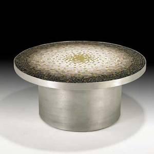 Vladimir kagan kagandreyfuss occasional table usa 1950s venetian glass tiles aluminum unmarked 14 x 31 dia