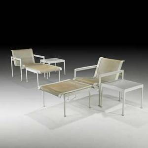 Richard schultz pair of lounge chairs ottomans and low tables usa 1980s mesh leather painted metal enameled steel unmarked chair 26 x 26 x 28 ottoman 14 x 23 x 27 table 15 34 x