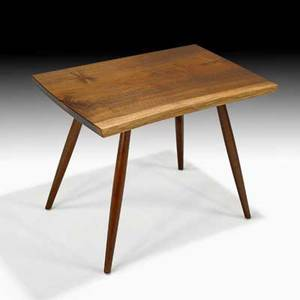 George nakashima nakashima studios black walnut side table new hope pa 1962 signed with clients name brass label 21 14 x 28 x 19 provenance private collection pennsylvania copy of ori