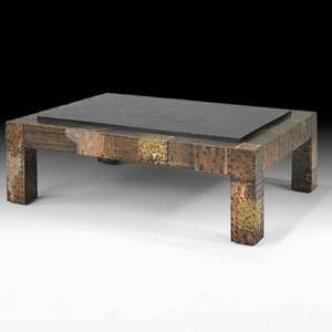 Paul evans directional patchwork coffee table usa 1970s copper bronze pewter slate unmarked 16 12 x 48 x 36