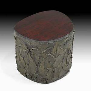 Paul evans directional sculptured metal side table usa 1971 bronze composite rosewood wood signed pe 71 15 12 x 18 12 x 16