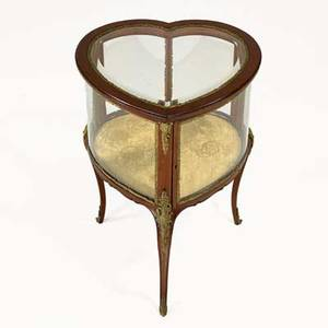 Vitrine heartshaped 20th c mahogany glass giltbronze mounts unmarked 30 x 20