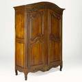 Country french style armoire fruitwood with paneled doors and polychrome floral relief decoration 20th c converted for use as entertainment center 83 12 x 60 x 24 12