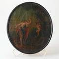 Oil on canvas neoclassical scene of woman chastising cupid oval frame 19th century unsigned 14 x 12 12