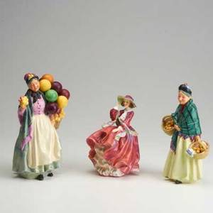 Royal doulton three figures 20th c the orange lady top o the hill biddy penny farthing  all marked tallest 9 14