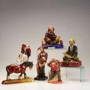 Royal doulton six figures 20th century the potter the jester falstaff spaniel with pheasant highlands pony and the mendicant  all marked tallest 10 12