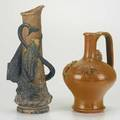 Amphora two pieces vase with dragon and palissytype jug with lizard and insects 19th20th c vase stamped jmb1736 taller 14