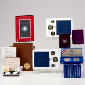 Us commemorative coins and bullion 15 pcs 2 1987 proof silver american eagles 6 1986 proof liberty coin sets with silver 1 and 50c etc